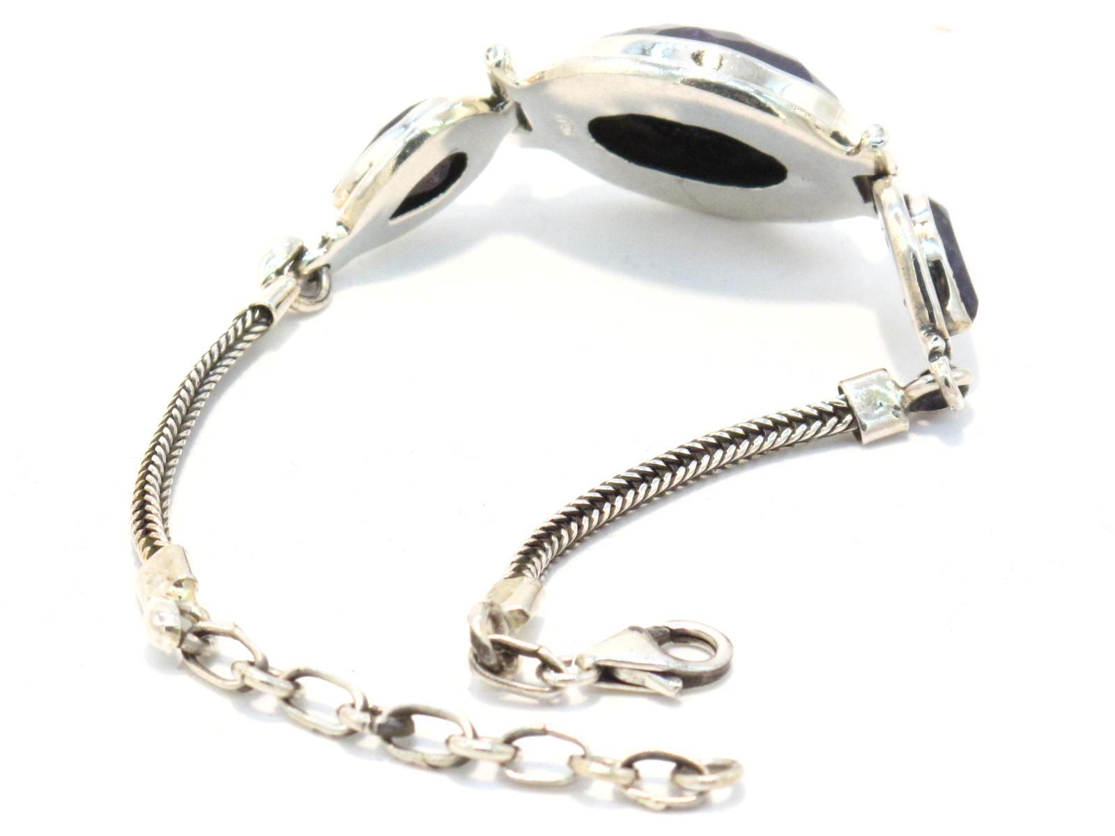 bracciale in argento e lapislazzuli sfaccettato
