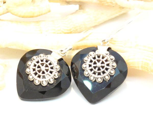 orecchini argento e onice