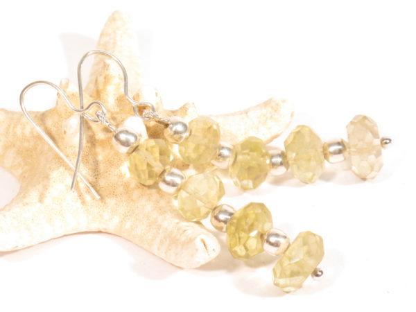 orecchini in argento e quarzo citrino