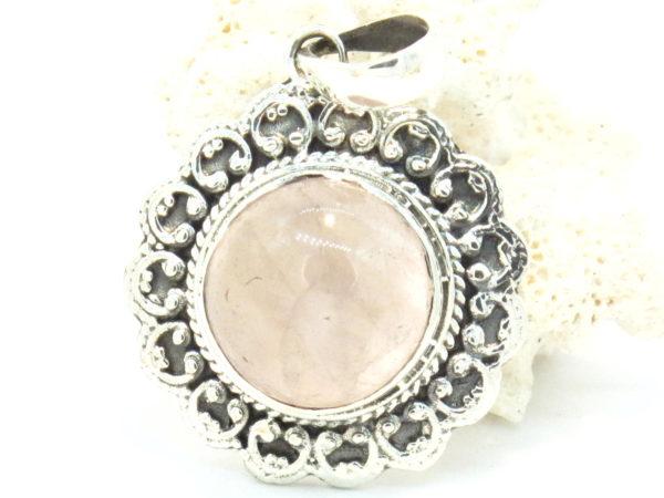 pendente in argento e quarzo rosa