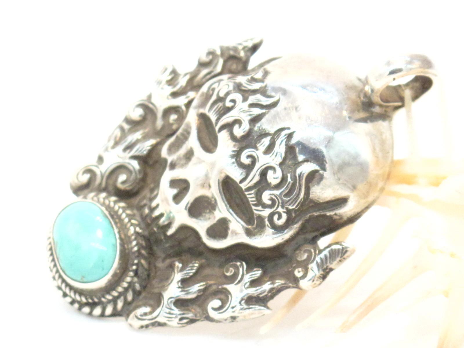 pendente nepalese argento e turchese
