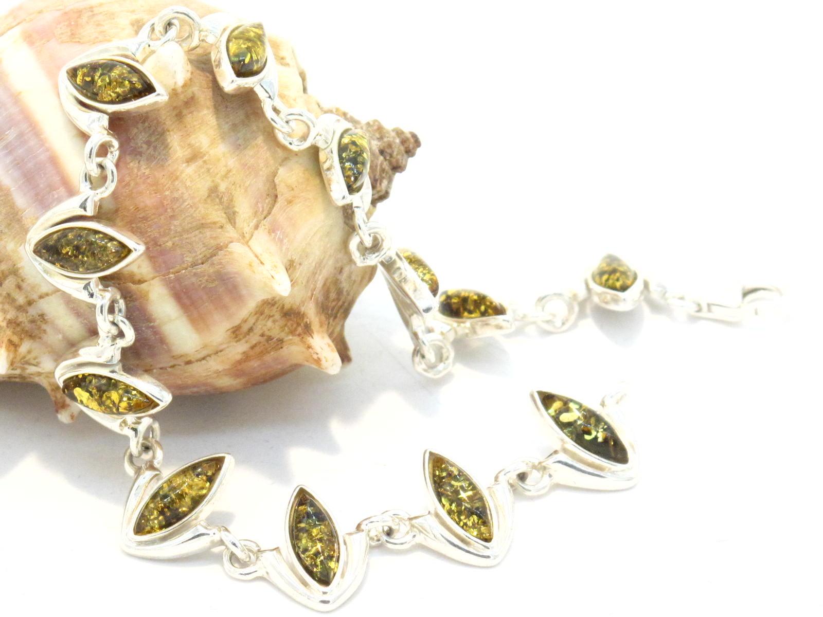 bracciale in argento e ambra