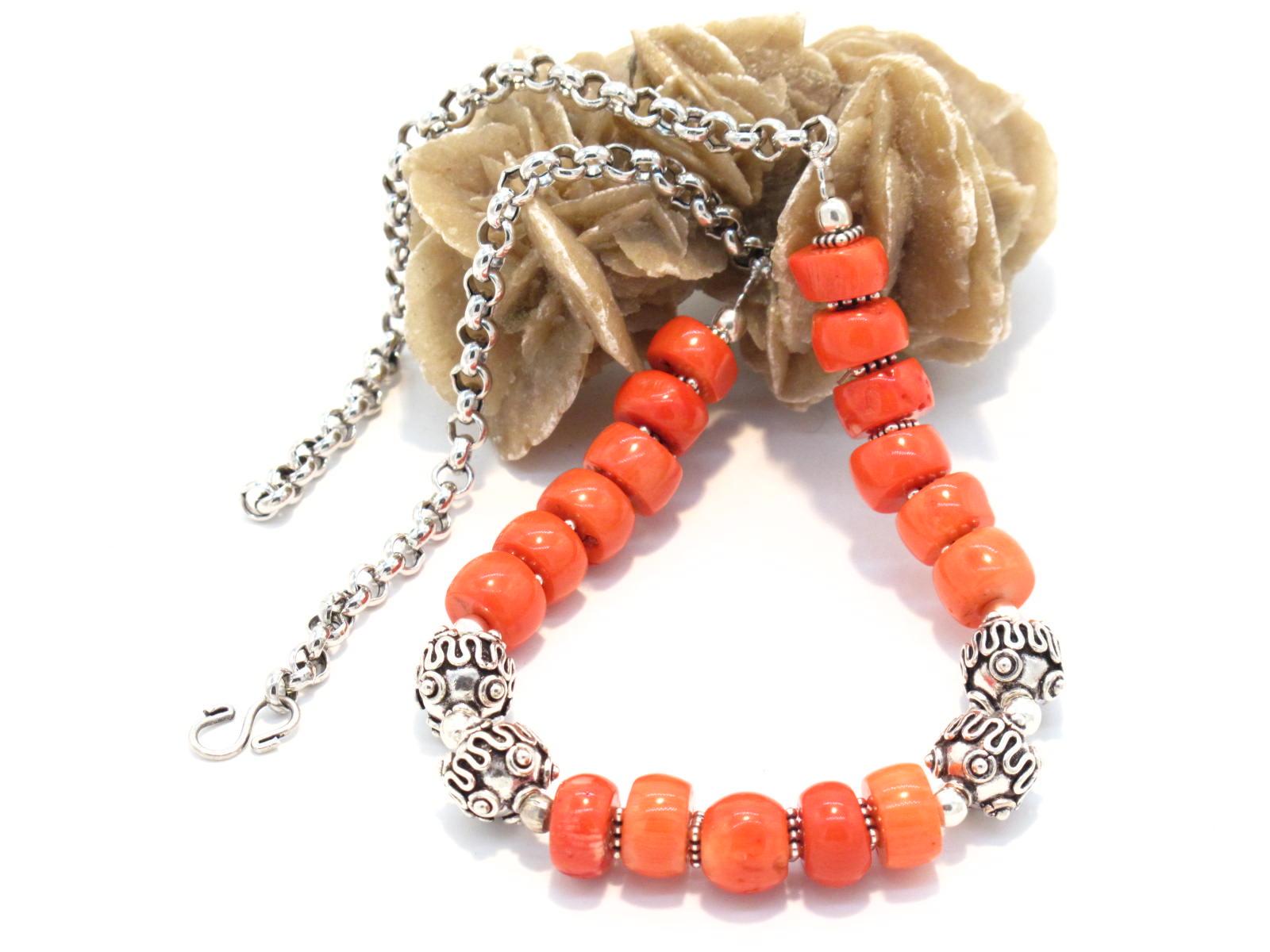 collana nepalese argento e corallo