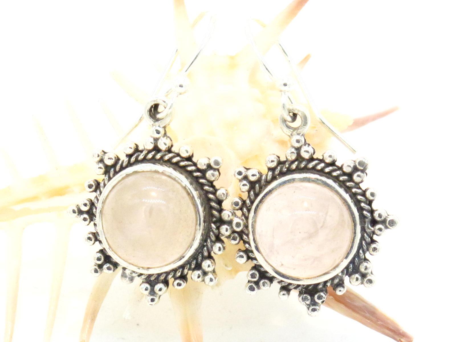 orecchini argento e quarzo rosa