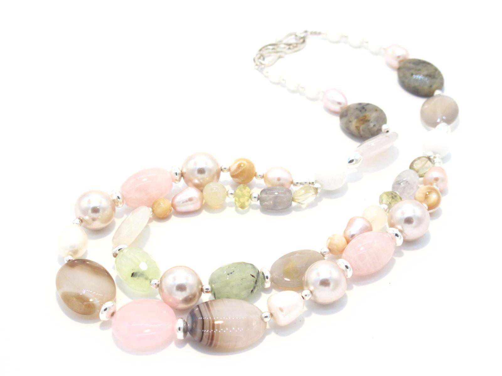 collana linea atlantide in pietre multicolor