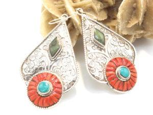 orecchini in argento turchese e corallo