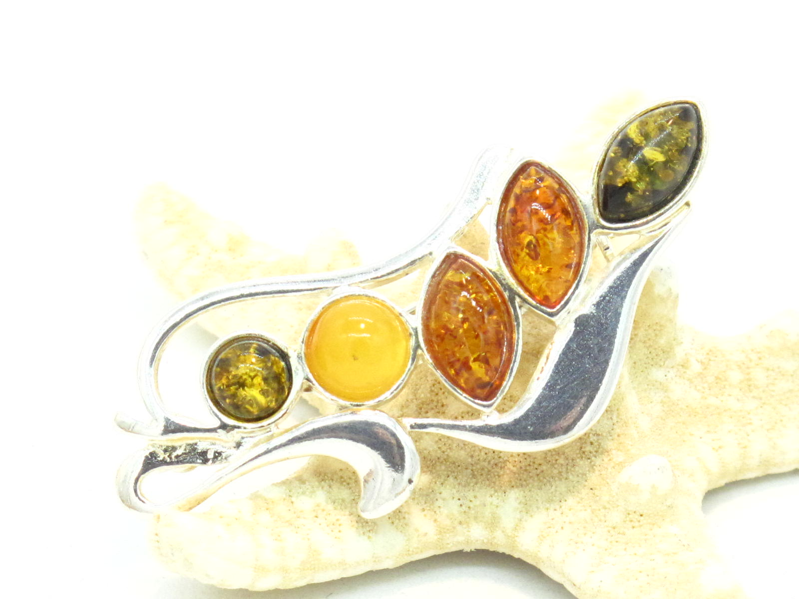 spilla in argento e ambre multicolore