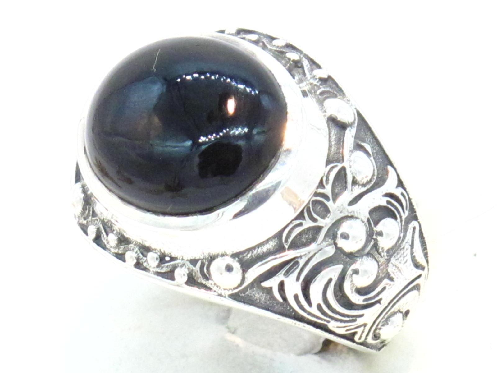 anello etnico argento e onice