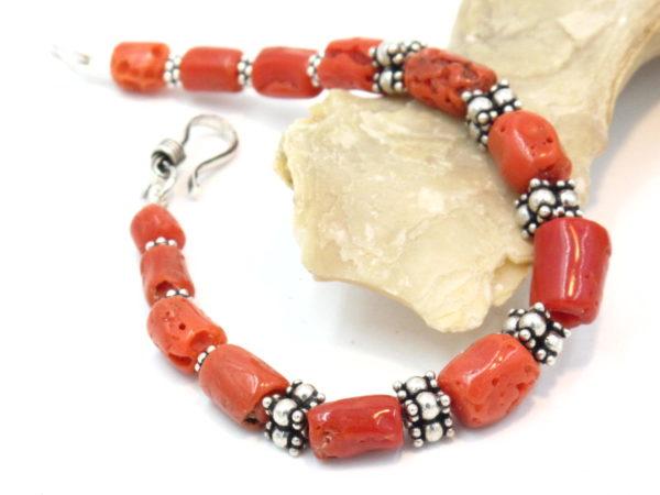 bracciale argento e corallo