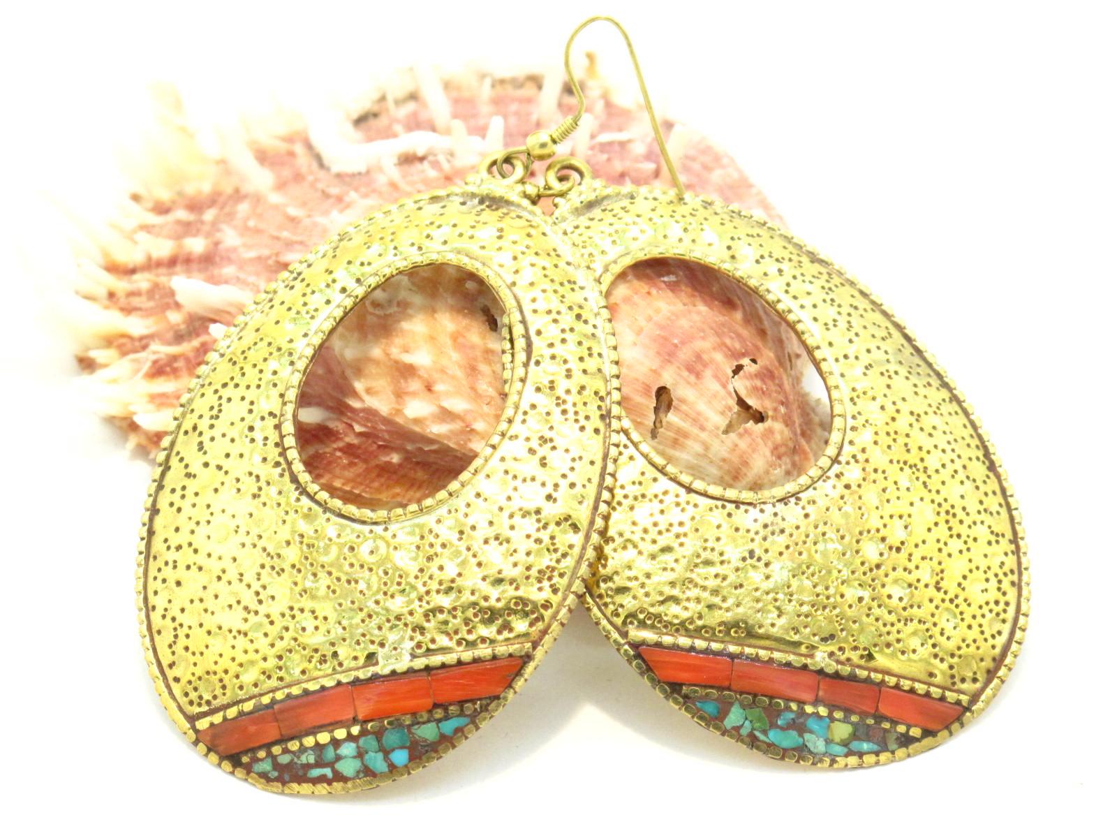 orecchini in ottone turchese e corallo