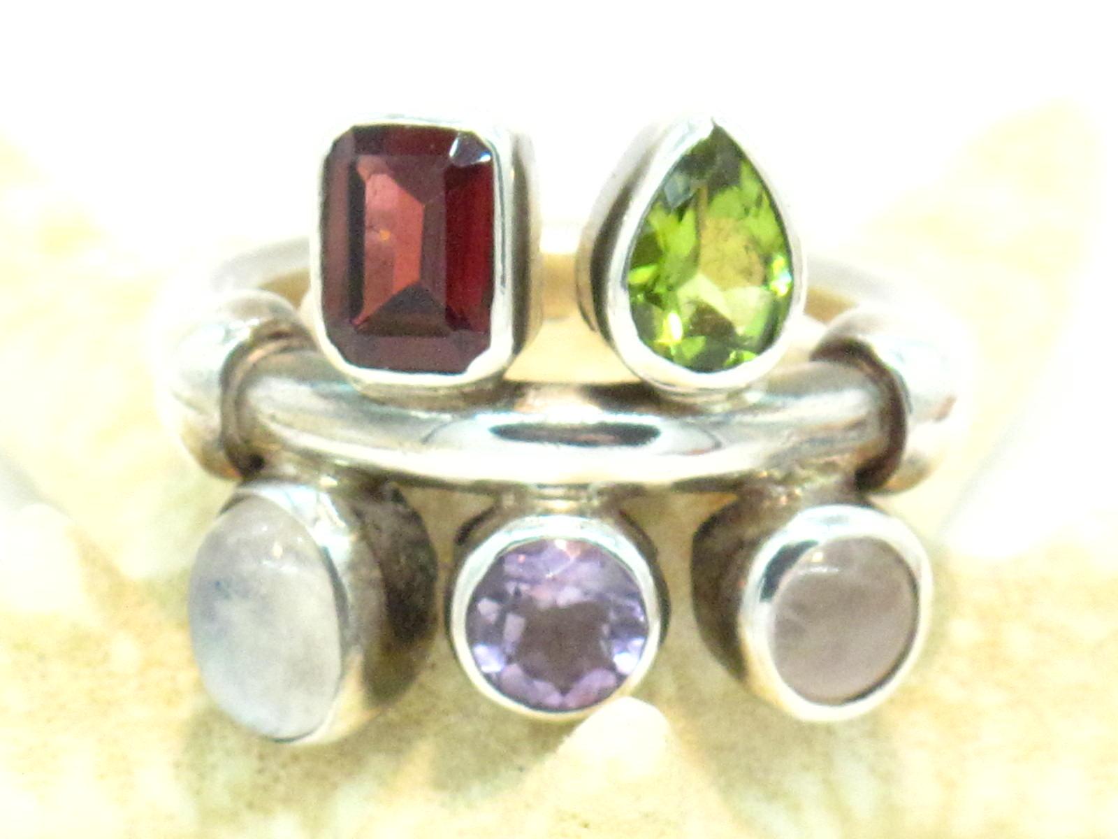 anello pietre multicolor
